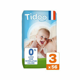 TIDOO 56 Couches Taille 3 Medium (4/9kg)