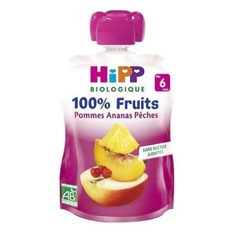HiPP Gourde Pomme ananas pêche 6m