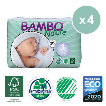 Bambo Nature 4x28 Couches Taille 1 (2-4kg)