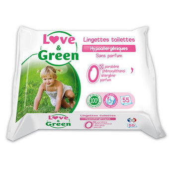 Love & Green Lingettes de toilette x 55