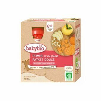 Babybio 4 Gourdes Pomme Patate Douce 6m