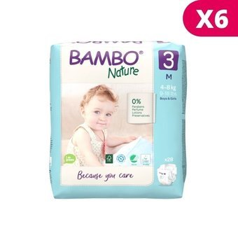Bambo Nature 6x28 Couches Taille 3 Midi (4-8kg)